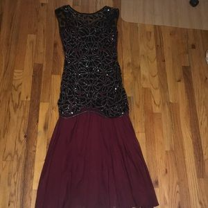 Black and maroon sequin gown